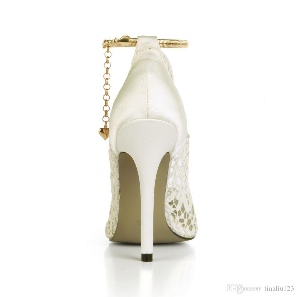 2017 новые цвета слоновой кости / красный / черный кружева сетки женщины свадебное платье обувь атласные высокие каблуки цепи женщины свадебные насосы дышащий партии обувь большой размер 43