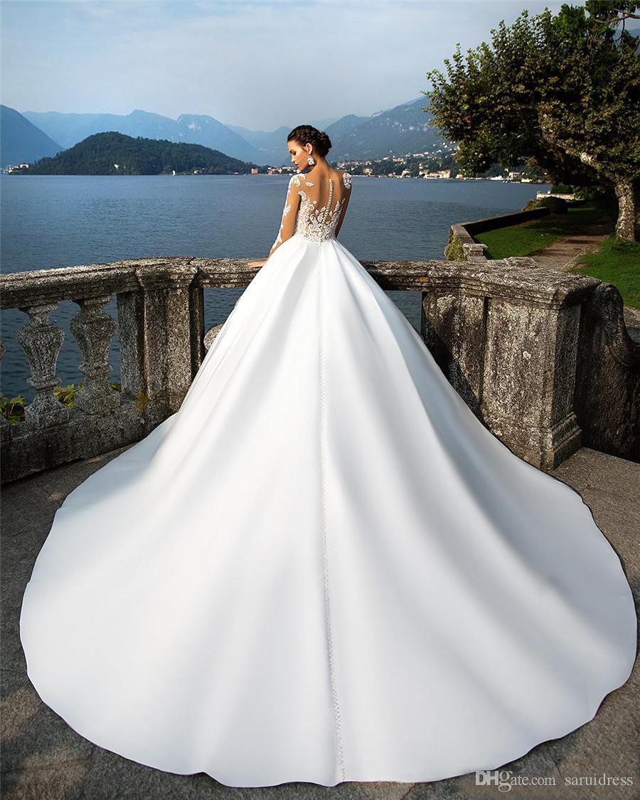 밀라 노바 얇은 긴 소매 레이스 Appliqued 새틴 웨딩 드레스 호두 버튼 여름 해변 보헤미안 웨딩 드레스 vestidos 드 noiva