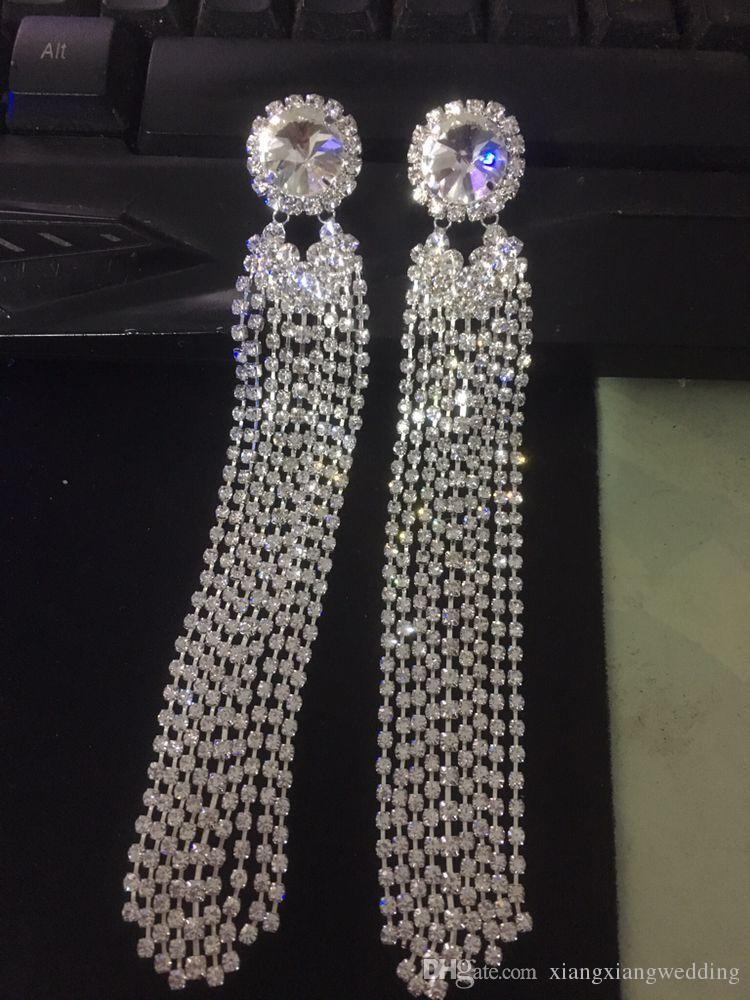 New Luxury Tassel Drop Earrings for Wedding 925 Sterling Silver Bridal Jewelry Long Chain with Crystal Sparkling Rhinestones