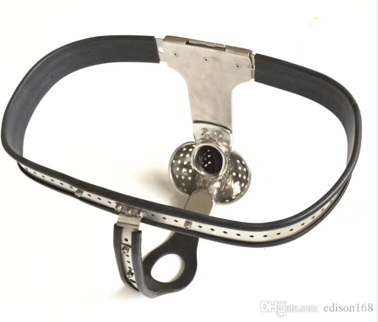 Tipo T Tipo Ajustable Cintura Ajustable Cinturón de castidad de acero inoxidable con ventilado Scrotum Groove Cock Penis Cause Adulto BDSM Producto Juguete Sexual
