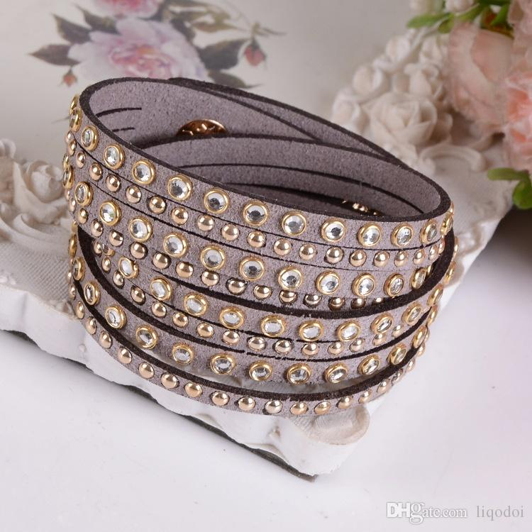 New Womens Black Fashion Leather Bracelet Choices Multilayer Charms Wrap Bracciali Regali di Natale Gioielli