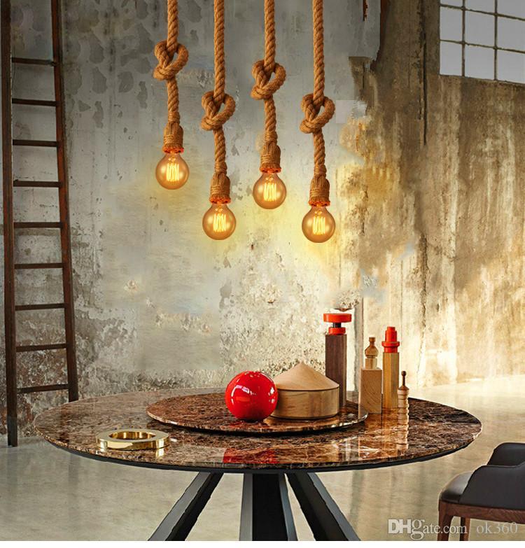 Retro Corda Vintage Pendant Lâmpada Luz Loft personalidade criativa lâmpada industrial Edison Bulb estilo americano para sala de estar