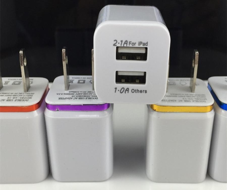 metal edge dual usb 5v 2 1a 1 0a wall charging charger us plug ac rh dhgate com