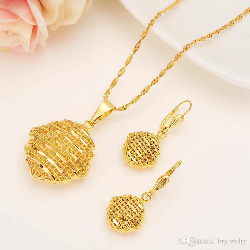 Gold Jewelry Set Pendant ChainEarringJewelry Gold Color Women