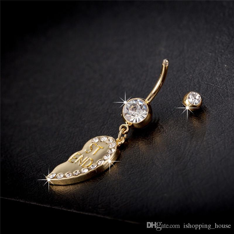 CZ Crystal Best Friend Heart Twins Belly Ring Button Ring for Hot Sexy Girls Women for Bar Party Ring