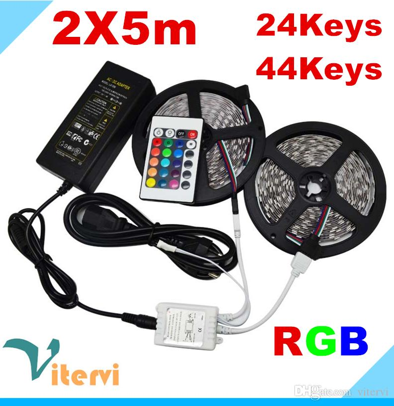 Double 5m Led Strips Light 10m Set 3528smd 300led Led Waterproof Strips  24keys 44keys Ir Remote Controller Power Supply Adapter Rgb Rgb Ledstrip  Color ...