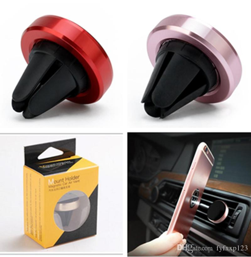 Auto Magnetic Air Vent Mount Cellulare Smart Phone Holder Handfree Dashboard Phone Metal Stand per cellulare iPhone 7 6 Samsung S8 A32