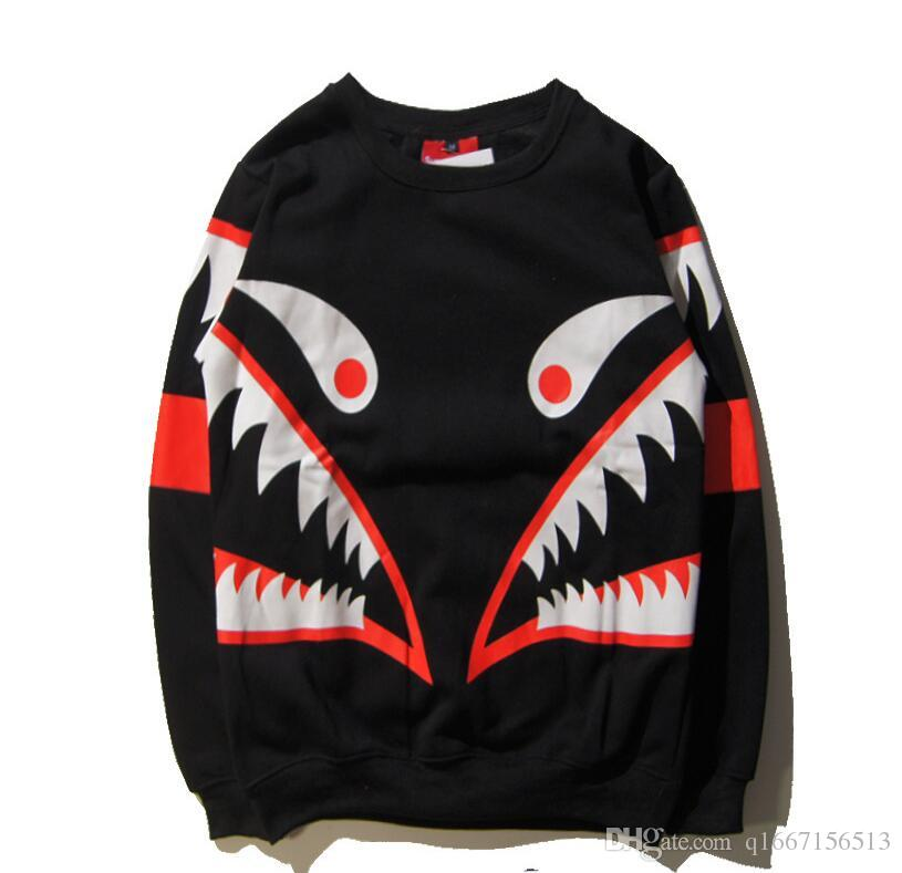 2018 sweater shark tooth prints plus velvet sweater female jacket