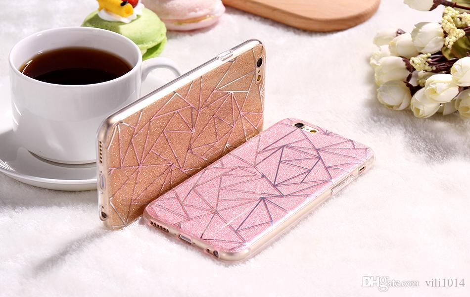 Para oppo r9 plus r9s plus a39 a59 capa capa case glitter em pó de prata losango macio tpu rígido pc mobile phone case