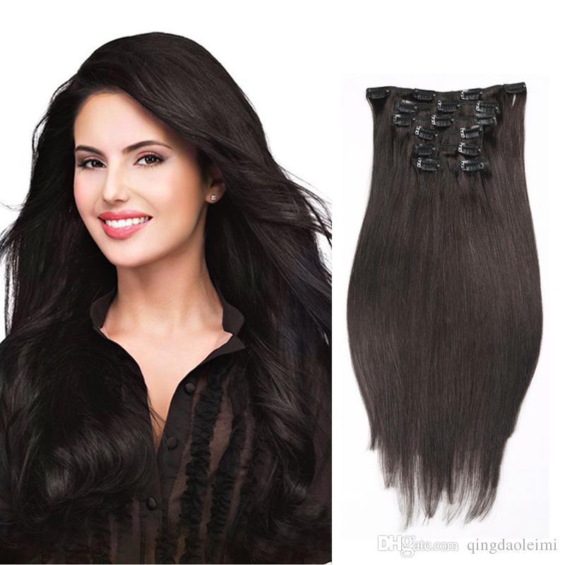 Hot Sale Women Sexy Long Straight Clip In Human Hair Extensions 613