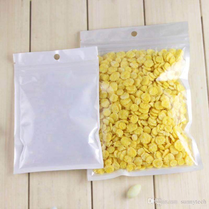 Weiße lichtdurchlässige Perlen-Film-Druckverschluss-Beutel-klare Front Pearlised Film-Plastik ursprüngliches Jungfrau-Haartasche LZ0545