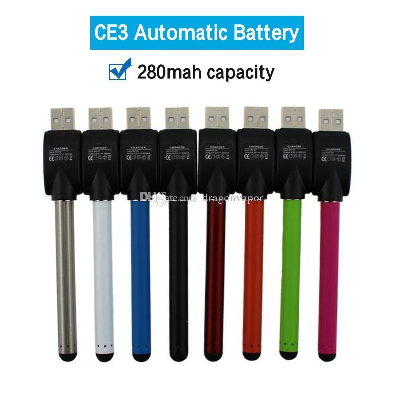 CE3 O-caneta BUD Bateria Caneta de Toque 280 mAh Baterias Com USB Carregador de Vidro CE3 Atomizador Vapor caneta 510 Cigarros Cera de Óleo Cartucho de Vaporizador
