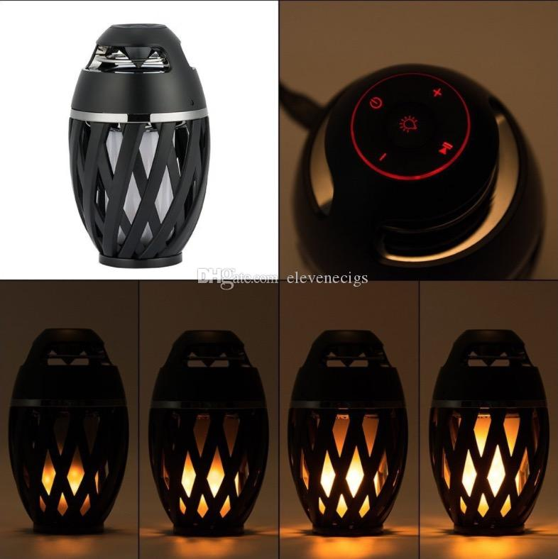 New Led flame speaker Torch atmosphere Wireless speakers&Outdoor Portable Stereo Speaker with Enhanced Bass LED flicker warm Light DHL Free