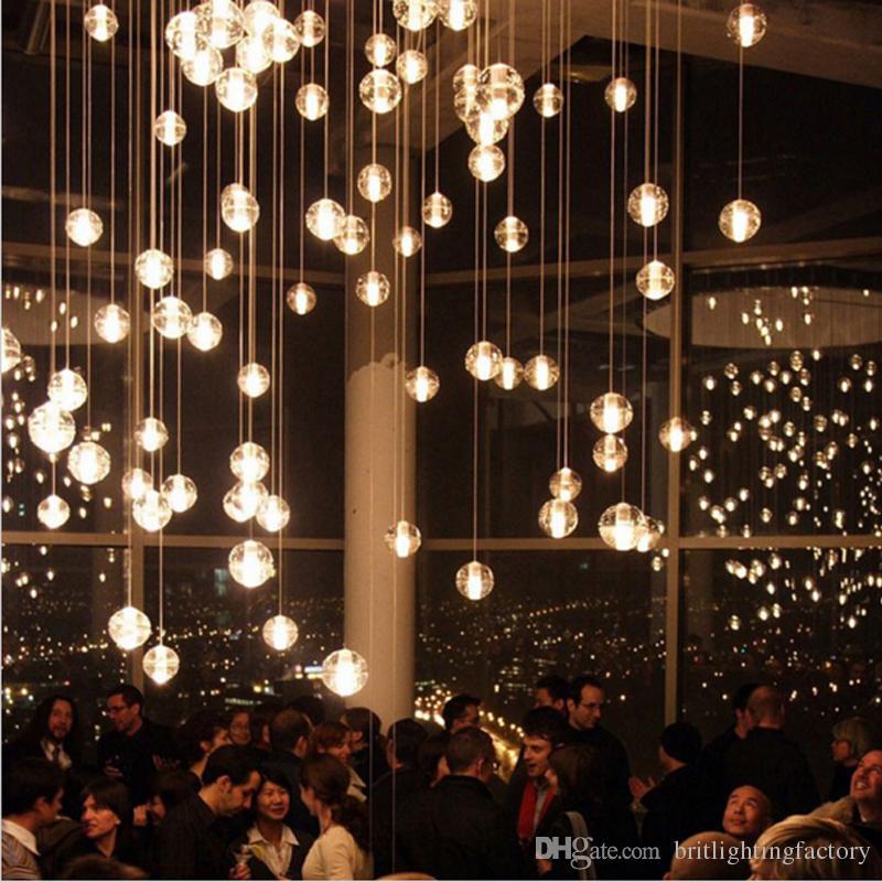 discount crystal ball pendant light modern led pendant lamp modern hanging lamps vintage crystal pendant lights villa compound building stairs lamp pendant