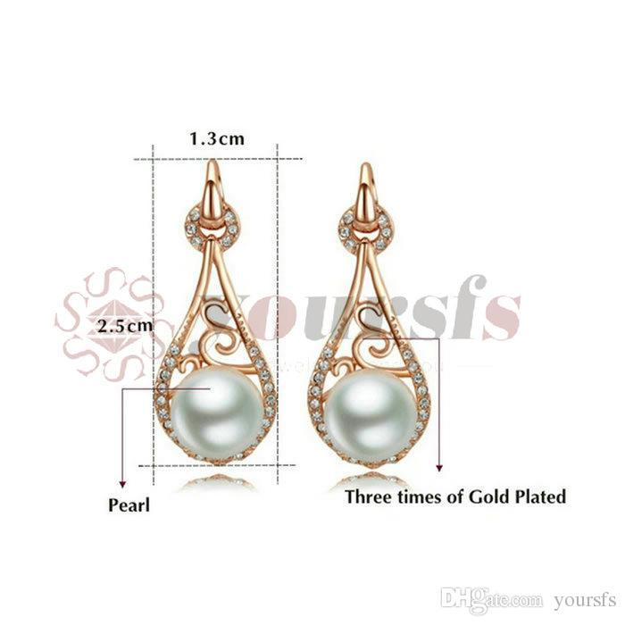 Yoursfs 18k rosa banhado a ouro lançado colar de pérolas e brinco usar conjunto de jóias de cristal austríaco