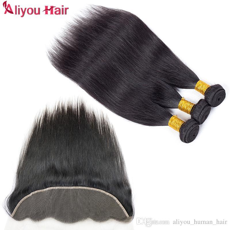 Cheap Brazilian Straight Virgin Human Hair Bundles with Lace Frontal Closure Peruvian Straight Hair Lace Frontal Bundles with Weaves Closure
