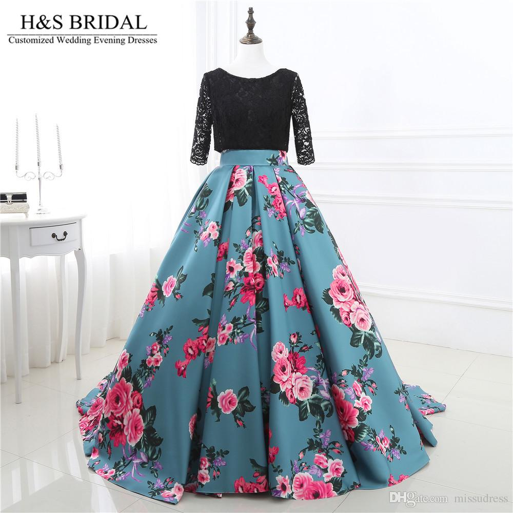 Printed Fabric Ball Gown Prom Dresses Lace Up Evening Dresses Top ...