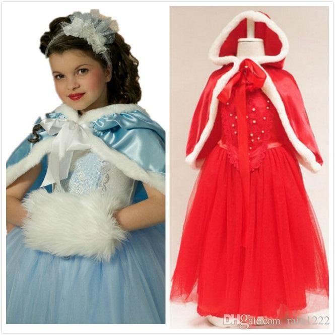 4-12T Girls Princess Frozen Tutu Dress With Cloak Xmas Cosplay Performance Costume For Children Kids TUTU Christmas Special Occasion Dress