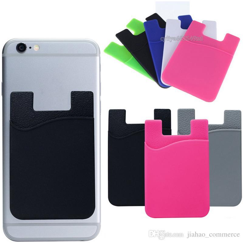 Titular do cartão ajustado autoadesivo Ultra-magro do cartão de carteira do cartão de crédito para o silicone colorido dos Smartphones