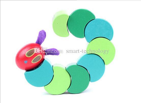 17 cm 2 estilos Lindo colorido cambiante Caterpillar Educación temprana Juguete de madera para el juguete del bebé regalo del bebé envío gratis DHL