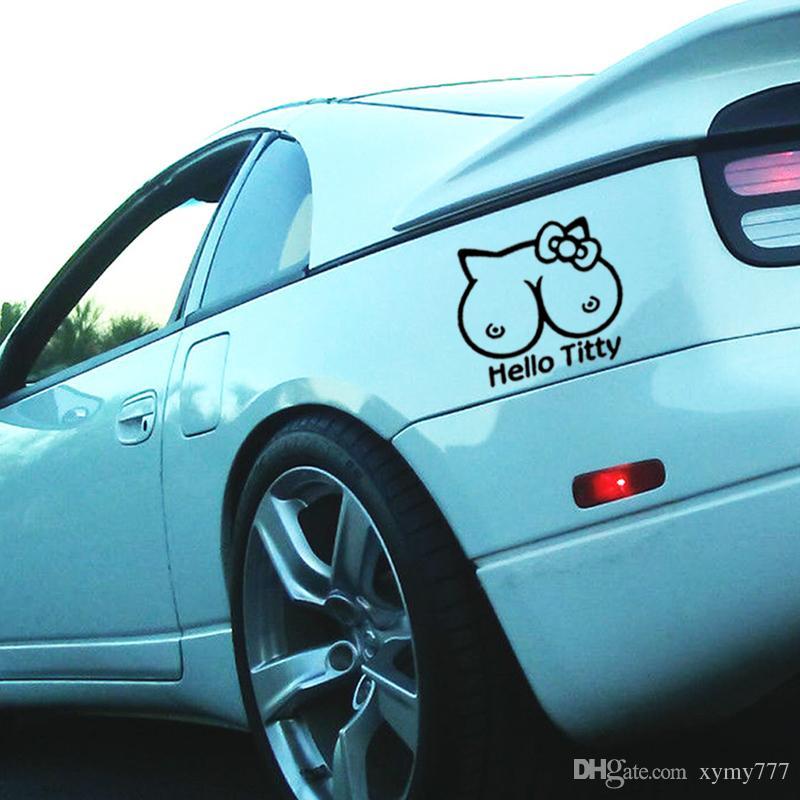 Vente chaude Cool Graphics Bonjour Fenêtre Drôle Mignon Intéressant Car Styling Autocollant Vinyle Decal Jdm Graphiques Art Décoratif JDM