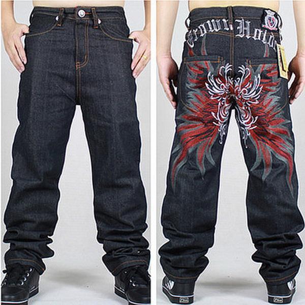 Compre Al Por Mayor Bordado Nuevo 42 Hombres Hip Hop Jeans Para Hombre  Larga Suelta Monopatín De Moda Baggy Relajado Denim Casual HIPHOP Hombres  Pantalones ... cd63434358e