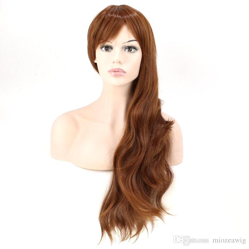 Brown Synthetic Hair Women Long Wavy Wig Thin Bang High Temperature Fiber 60cm Long