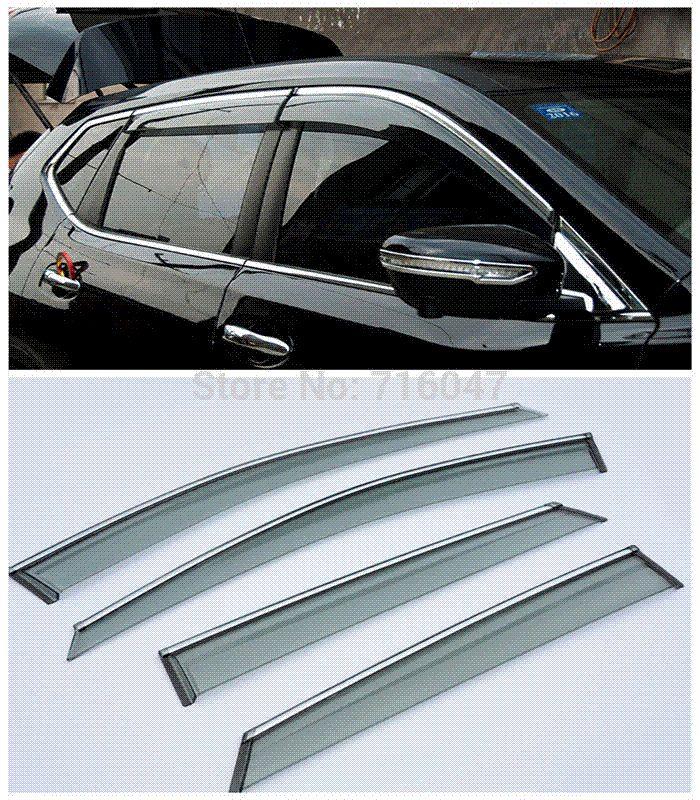High Quality For Qashqai 2015 2016 Car Window Visor Vent Shade Rain Sun Wind Guard Trim Exterior Car Parts