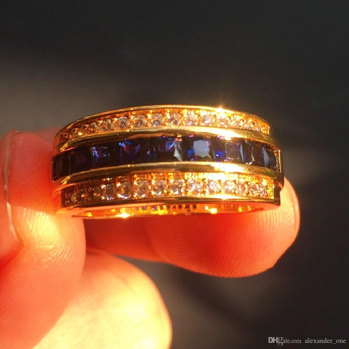 الأزياء 10kt الذهب الأصفر gf خواتم ساحة الماس مقلد زركونيا الياقوت الأزرق الاشتباك الذكرى الفرقة الدائري للرجال النساء