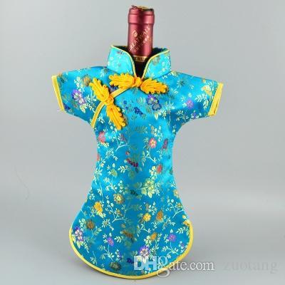 Chiński styl jedwabiu satynowe ubrania do butelek wina sukienka torba ochrona pokrywa domowa party stół dekoracji butelki do pakowania 10 sztuk / partia pasuje 750ml