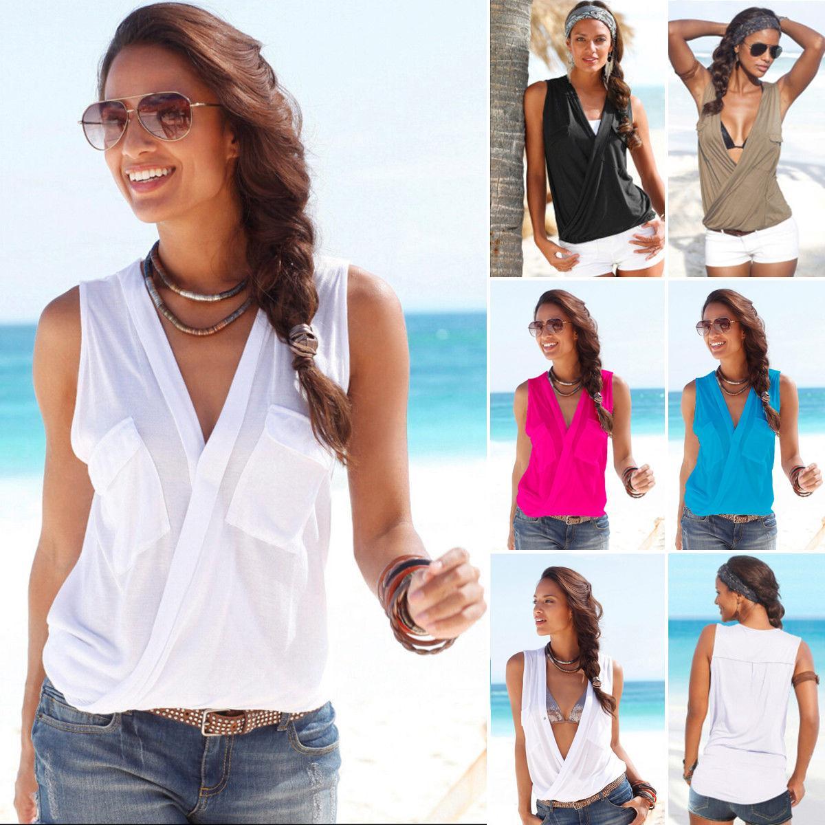 fcc674987745 2017 camisas de la blusa de las mujeres atractivas doble bolsillo costura  profundo V cuello sin mangas blusa de la camiseta
