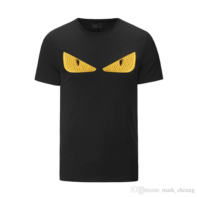 Moda Marka Erkek Kadın kısa kollu T gömlek perçin küçük canavar komik gözler baskı yüksek kalite pamuk erkekler serin tişörtlü hip hop tees tops