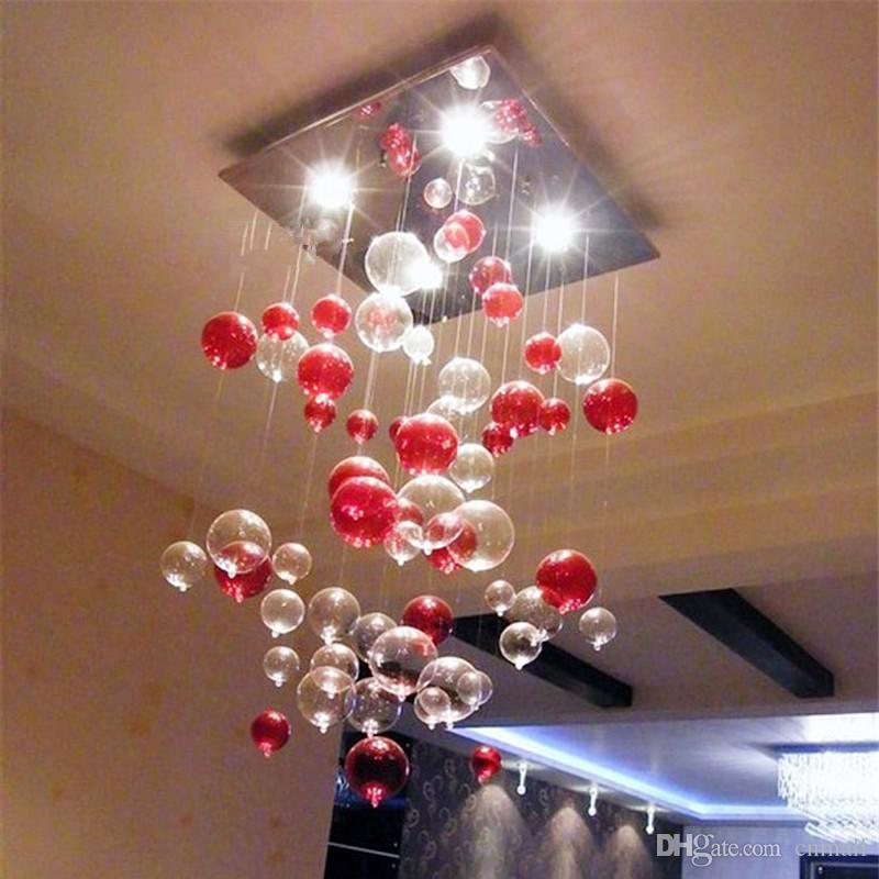 glass bubble chandelier lighting. Indoor Pendent Light Red Bubble Glass Chandelier Sitting Room Dining Lamp Study Bedroom Dome Lighting Modern Pendant 3