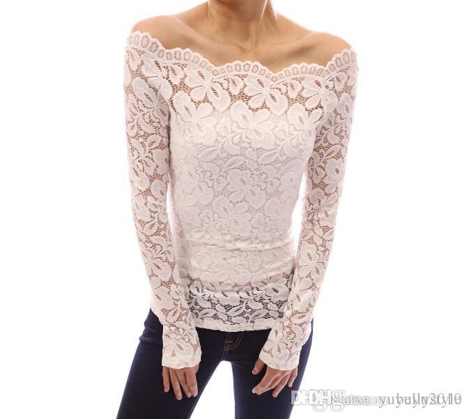 e0c8846a9f153 Fashion Blusas Strapless Lace Openwork Lace Collar Long Sleeved Shirt Sexy  Women Blouse Off Shoulder Lace Long Sleeve Tops From Bellystyle