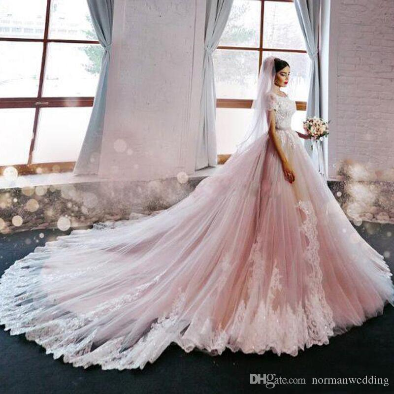 Discount Luxury Blush Pink Wedding Dresses 2017 Off The