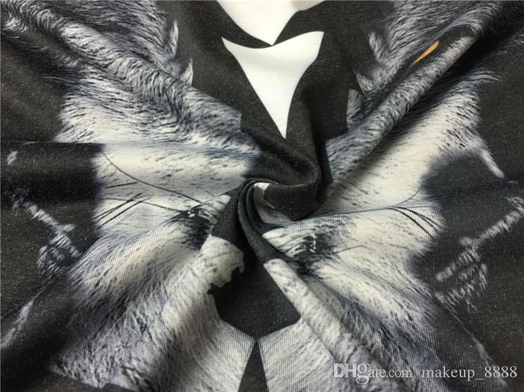 2017 moda de verano etiqueta de la marca de ropa para hombre marcelo burlon 3D lobo camiseta de impresión kanye west t shirt camiseta tops