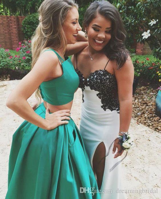 Duas peças verde longo vestidos de baile quadrado pescoço bolso bola vestido 2017 barato sexy sash vestidos para vestidos de festa formal vestidos de noite