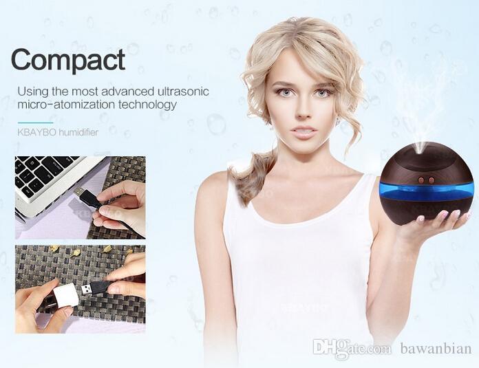 Großhandel 300ml USB Ultraschall-Luftbefeuchter Aroma Diffuser Diffusor Nebelhersteller mit blauem LED-Licht Freies Verschiffen