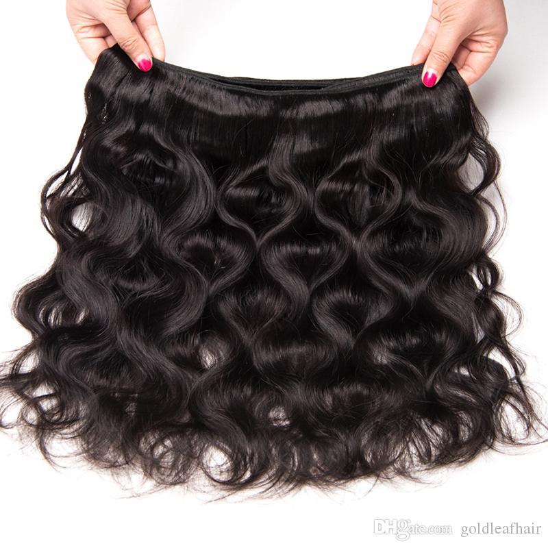 Extensiones de cabello brasileñas sin procesar Top grado peruano malasio indio armadura del pelo humano Cuerpo brasileño de la onda / precio al por mayor