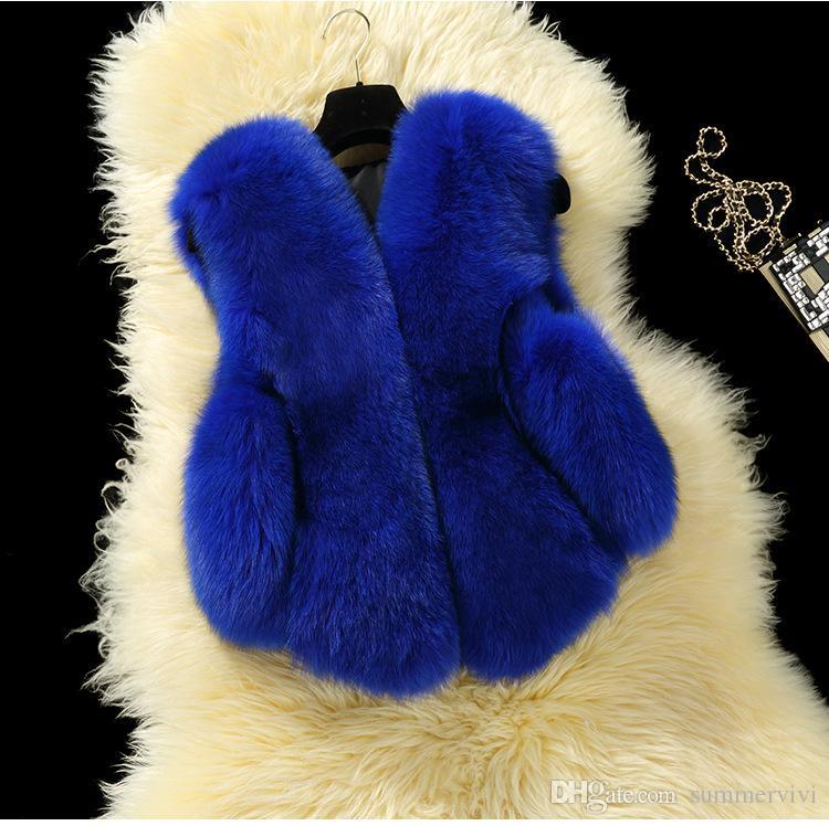 Girls fur vest Fashion V-Neck faux fox fur child vest jacket multicolor casual cute slim baby fur vests Winter childrens vest warm A0567