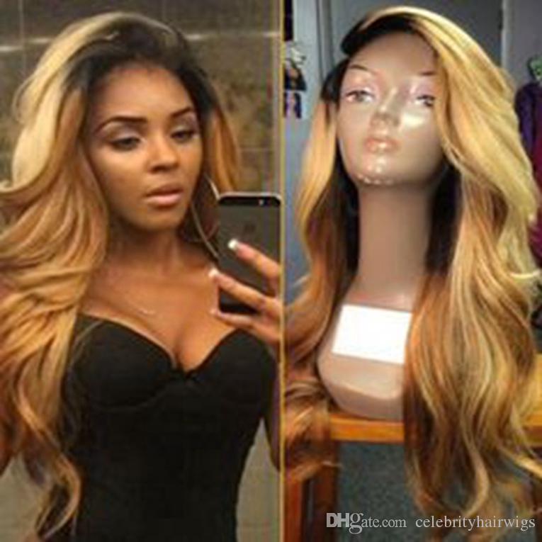 Perruques synthétiques longues devant la dentelle blonde ombre perruque sombre racine vague corps perruques brésiliennes de cheveux synthétique perruque avant de dentelle résistant à la chaleur