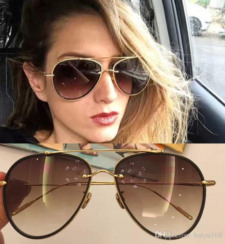 155297fe6ca 2017 Frency   Mercury Coast Drop II 2 Sunglasses Black Gold Frame Brown  Gradient Designer Pilot Sunglasses Brand New With Box Vintage Sunglasses  Super ...