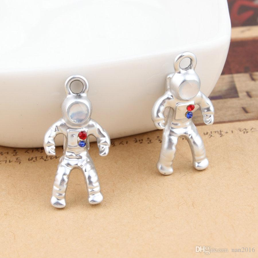 silver plated robot charm pendant, 13x25mm, jewelry findings