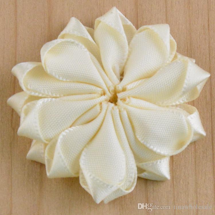 Мини атласная лента ткань цветок для повязки DIY ленты многоугольные цветы горный хрусталь жемчуг в центре девочка аксессуары для волос 110 шт./лот