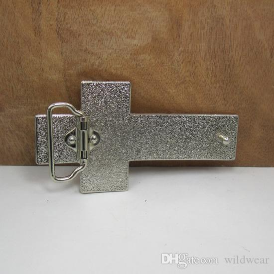 BuckleHome fashion cross belt buckle with silver finish FP-02996 with continous stock