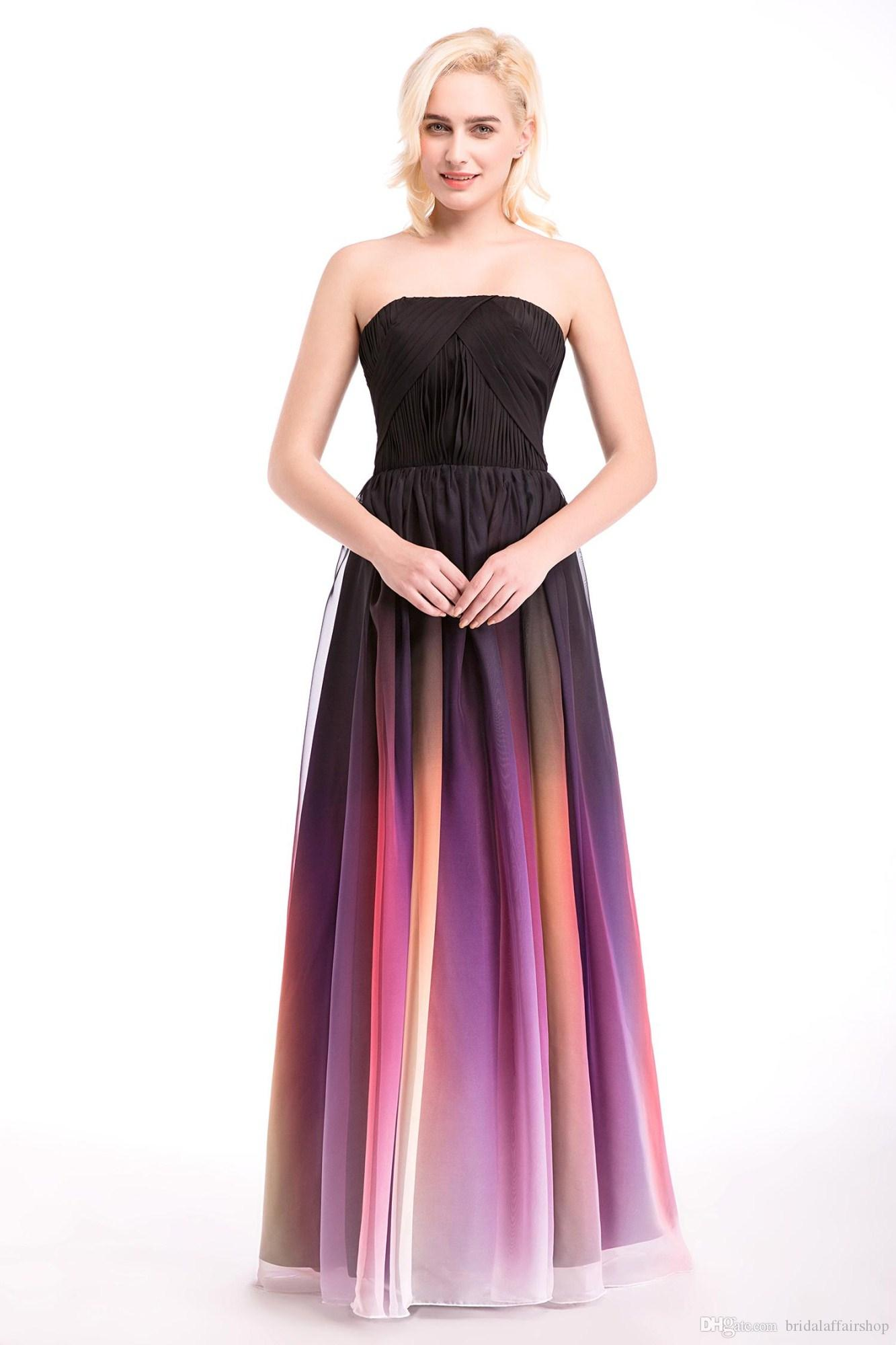 Floor Length A-Line Strapless Floor Length Chiffon Prom Dress Georgette Formal Evening Dress with Ruched Gowns