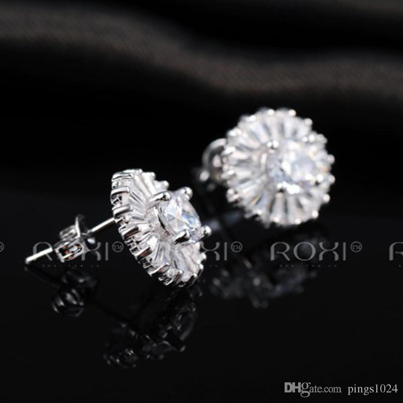 ROXI Brand Earrings For Women Elegant Crystal Zircon Ear Earring Quality White Gold Plated Fashion Jewelry For Christmas Gift