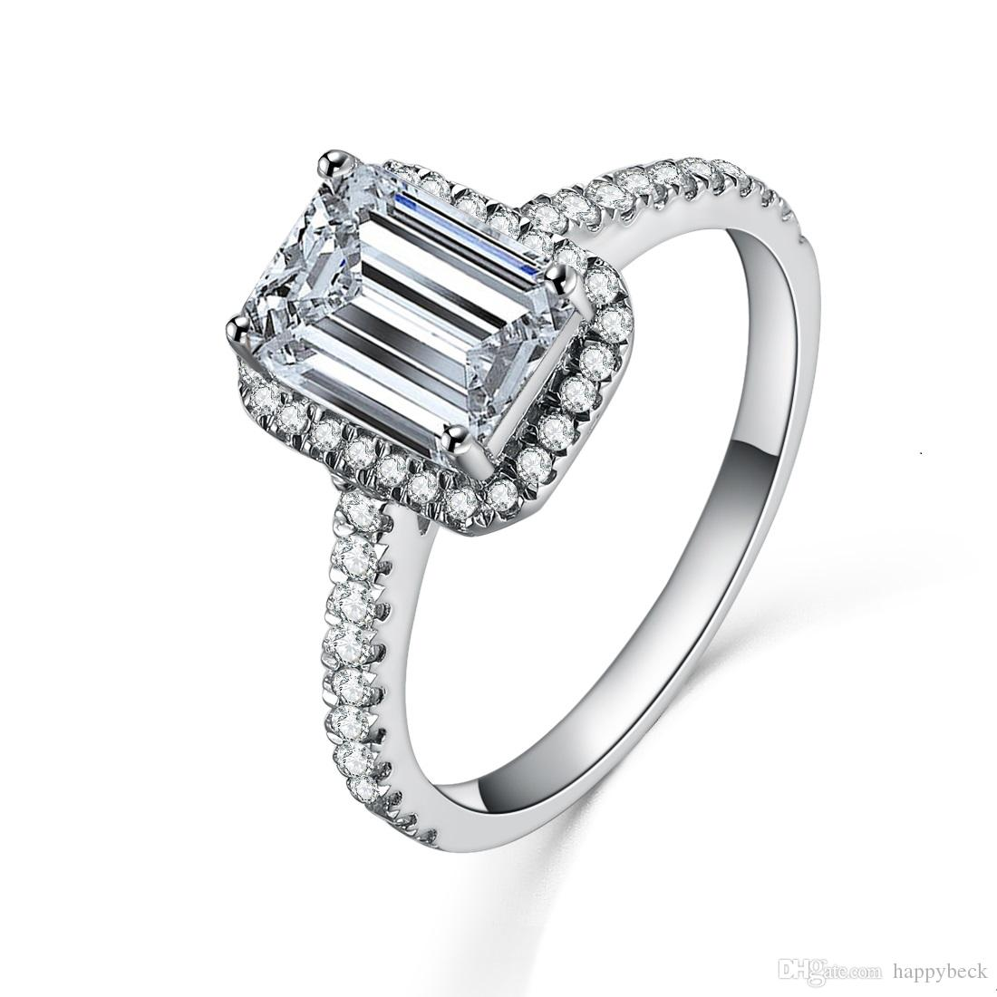 1CT Emerald Cut Synthetic Diamond Engagement Ring Excellent Sterling Silver  Fine Wedding Anniversary Jewelry