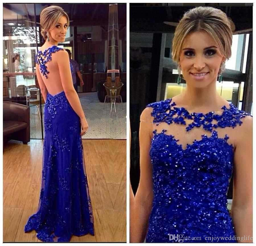 Sparkly Royal Blue Paillettes Prom Dresses 2017 Sheer Neck Lace Appliqued Sexy Illusion Back Lungo Pageant Gowns Formale Party Wear