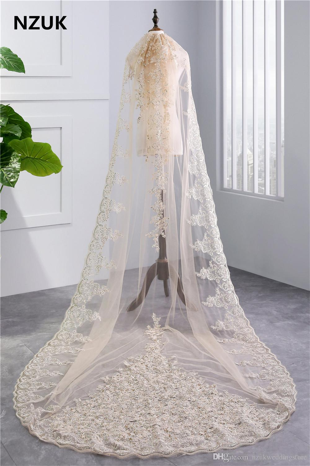 2018 Luxury 3.5 Meters Full Gold Lace Edge Two Layers Long Wedding Veils with Comb White Ivory Bridal Veil velo de novia